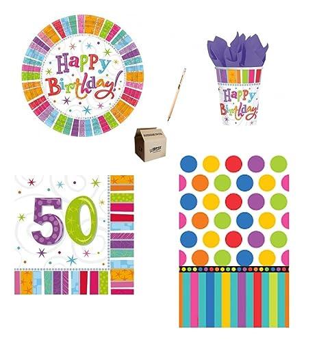 Irpot Kit N 3 Buon Compleanno 50 Anni Colorato Festa Party