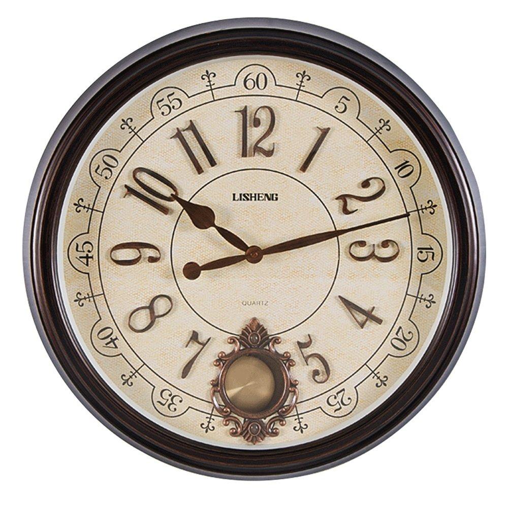 GDXRB 現代的なスタイリッシュなエレガントなサイレントノンティッキングの模造の木の壁時計、シンプルなクリエイティブウォールクロック居間の寝室オフィスキッチン(φ52センチメートル) (Color : ブラック) B07DCZ324Yブラック