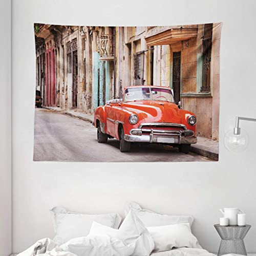 Ambesonne Cars Tapestry, Classical American Car in a Street with Houses Caribbeans Havana Cuba, Wide Wall Hanging for Bedroom Living Room Dorm, 80 X 60 , Brown Orange