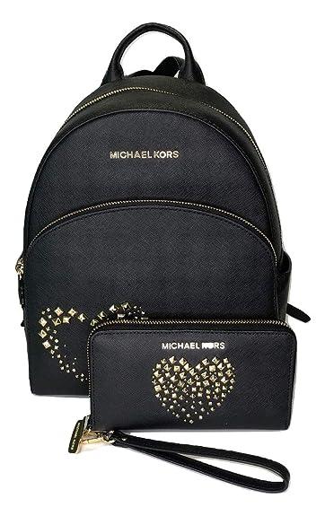 8edb0e2304f4 Amazon.com: MICHAEL Michael Kors Abbey MD Backpack bundled with Michael Kors  Jet Set Travel Flat Phone Wristlet/Wallet (Black Studded Heart): Shoes