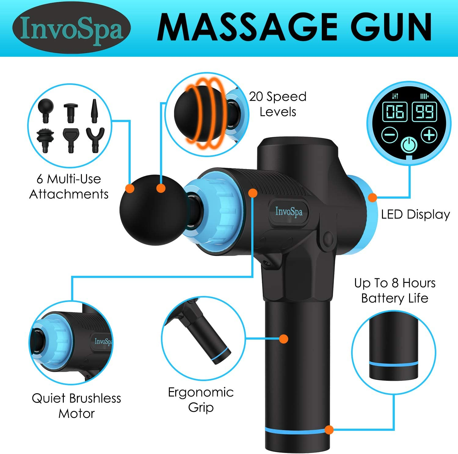 Percussion Massage Gun for Athletes - Percussive Handheld Deep Tissue Back Massager for Sore Muscle Pain Relief & Recovery - Portable Electric Body Massager Sports Drill: Health & Personal Care