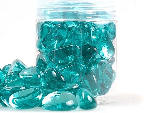 20-25 mm Kieselsteine Kieselsteine Aquarium Gartendekoration Reflektierendes Feuerglas Sukkulenten 305 g Candy aquamarin Feuerglas Perlen Chips f/ür Feuerstelle