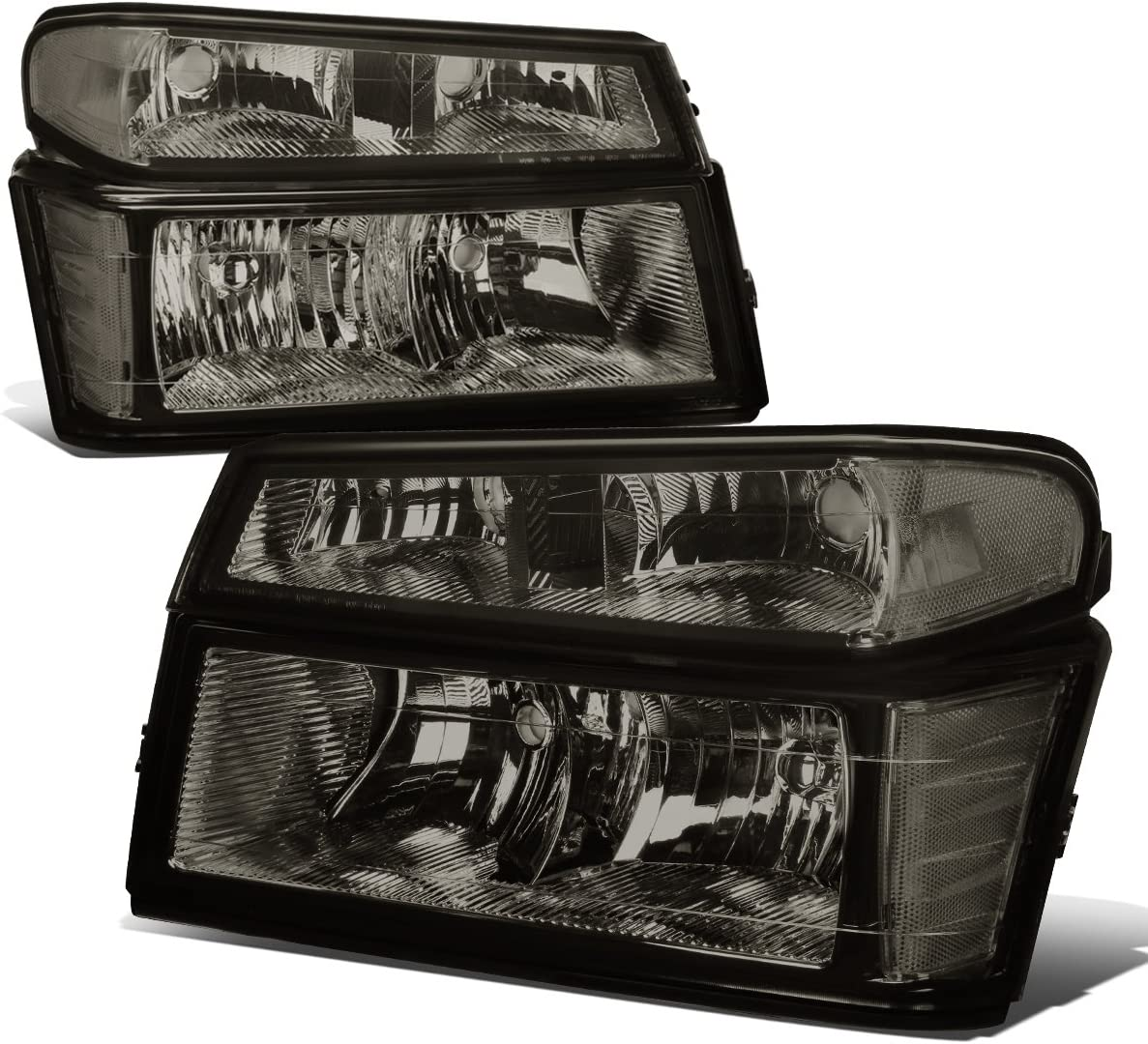 For Chevy//GMC//Colorado//Canyon Black Headlights+Bumper Lamp W//Clear Reflector 4PC