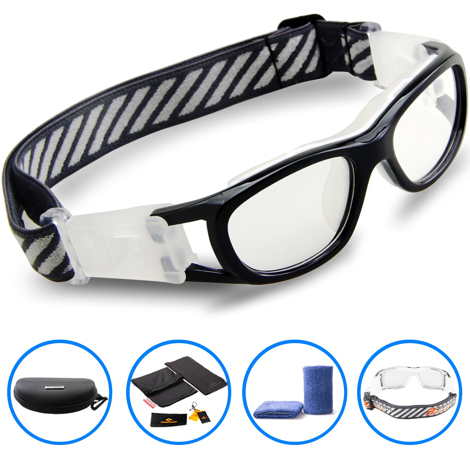 4462b431d9d Amazon.com   PONOSOON Sports Goggles Glasses for Kids for Basketball  Football Volleyball 1812(Black)   Sports   Outdoors