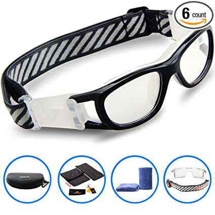 c92992857ea8 Amazon.com   PONOSOON Sports Goggles Glasses for Kids for Basketball  Football Volleyball 1812(Black)   Sports   Outdoors