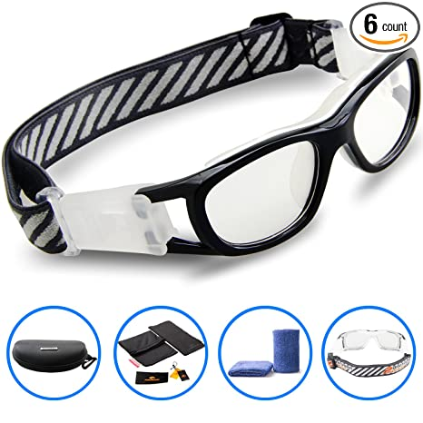 8aa54bef42 PONOSOON Sports Goggles Glasses for Kids for Basketball Football Volleyball  1812(Black)