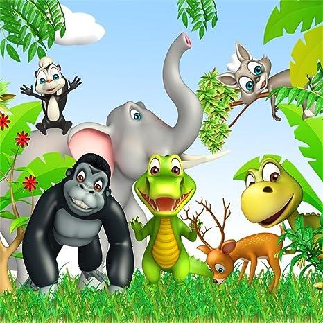 Amazon Com Lfeey 8x8ft Cartoon Forest Wild Animals