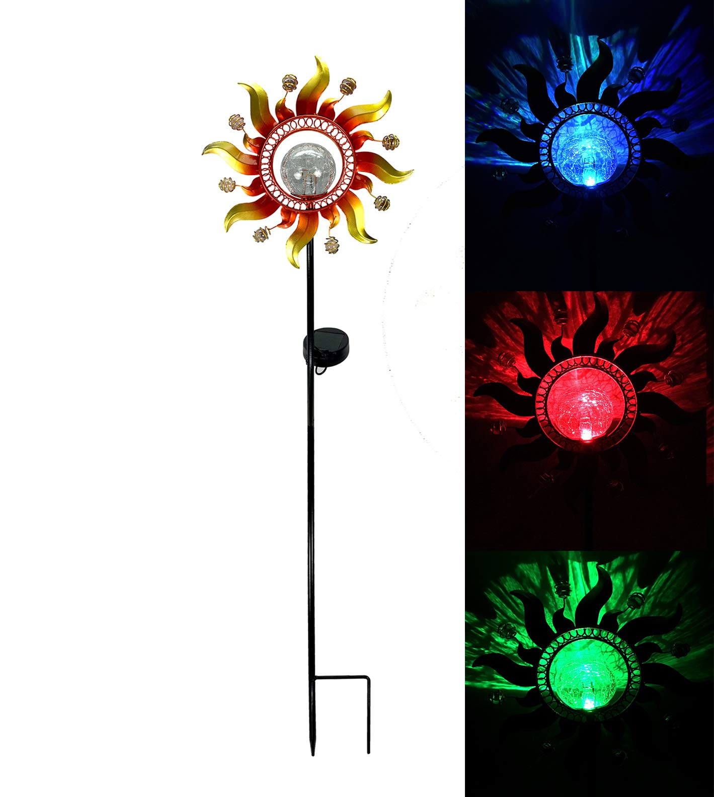 Unido Solar Powered Metal Sunray Garden Stake with Color Changing LED Light and Mosaic Glass Crackle Ball