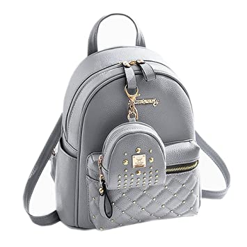 ebada6e8f1c53 Amazon.com | Cute Small Backpack Mini Purse Casual Daypacks Leather for  Teen and Women Gray | Backpacks