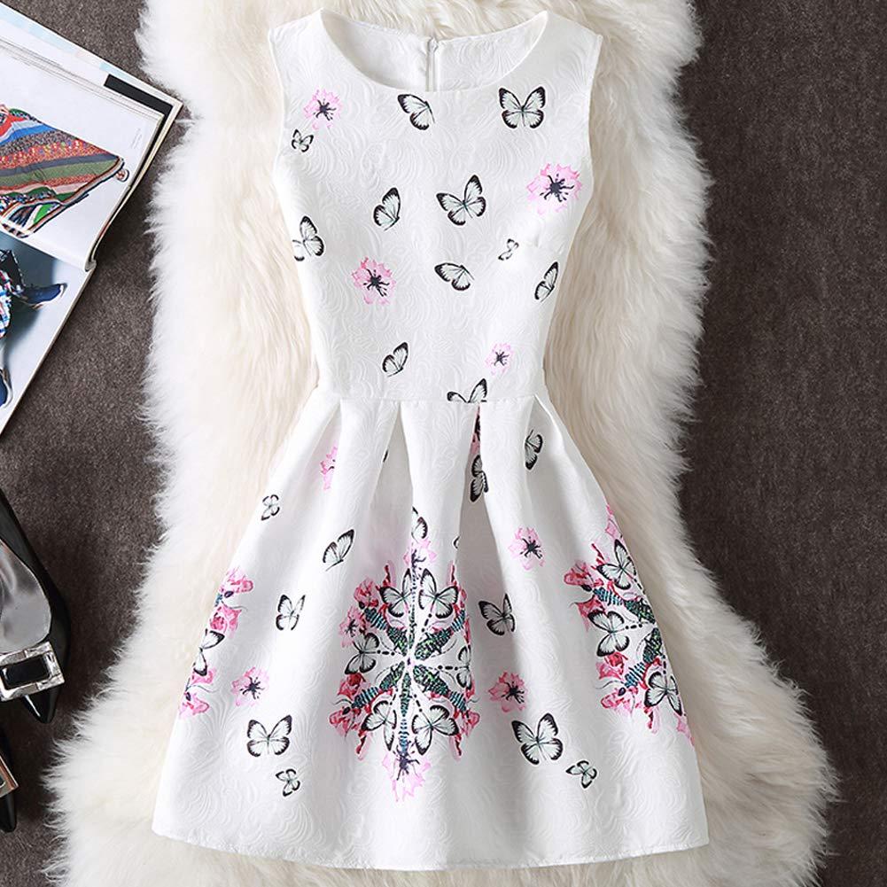 YFCH Donne Vestito Elegante Stampa Floreale Abito da Cocktail senze Maniche Bowknot Vestito da Festa Casual