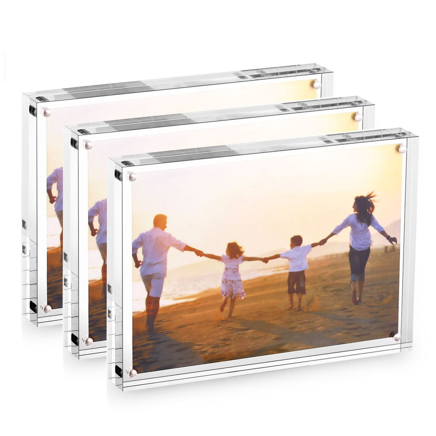 HESIN 3 Pack of 4inx6in (Fits 4 R) Clear Acrylic Photo Frame Stable Tabletop Magnet Frame Double Sided Picture Frame with Gift Box Package Thickness 10+10mm(3 Pack)
