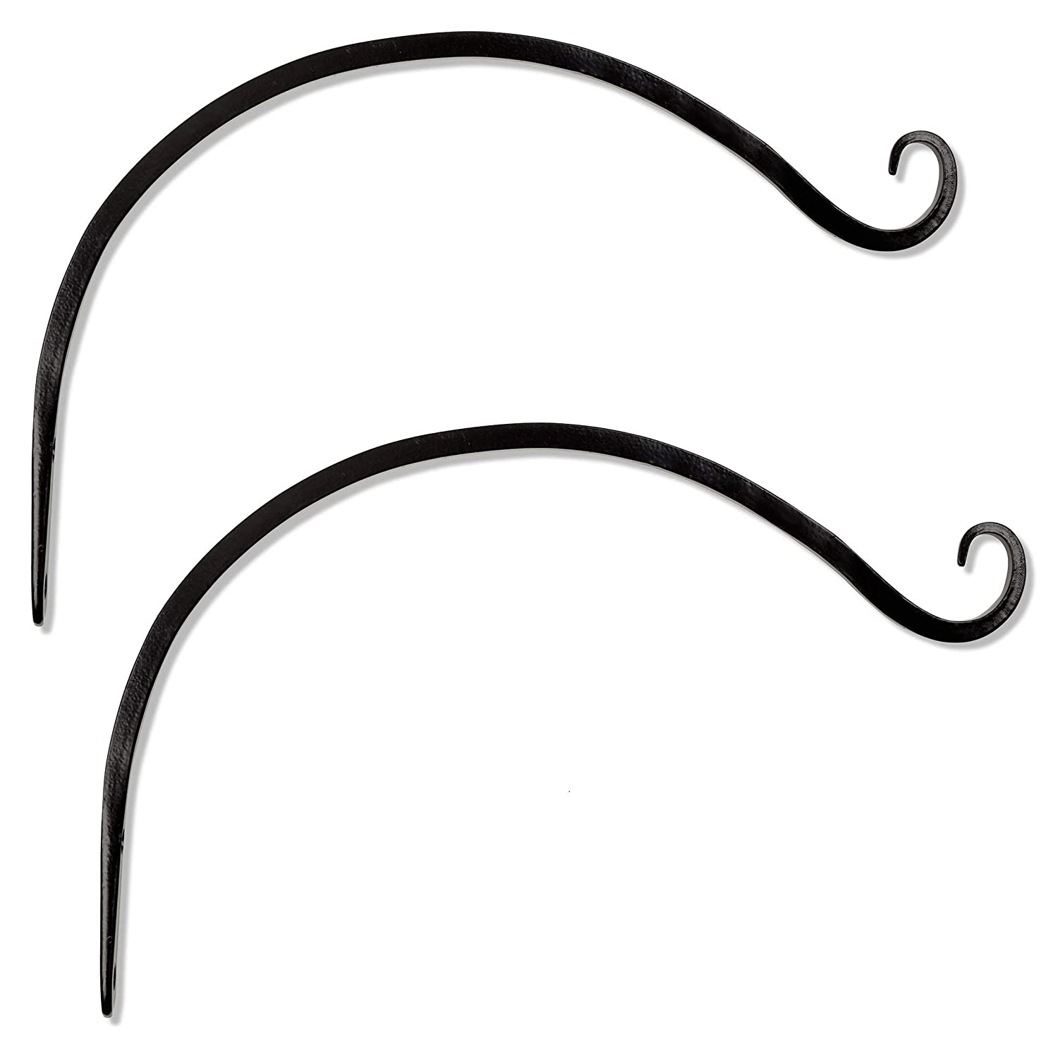 GrayBunny GB-6820B Hand Forged Curved Hook 14 inch Black 2-Pack for Bird Feeders Planters Lanterns Wind Chimes As Wall Brackets and More!