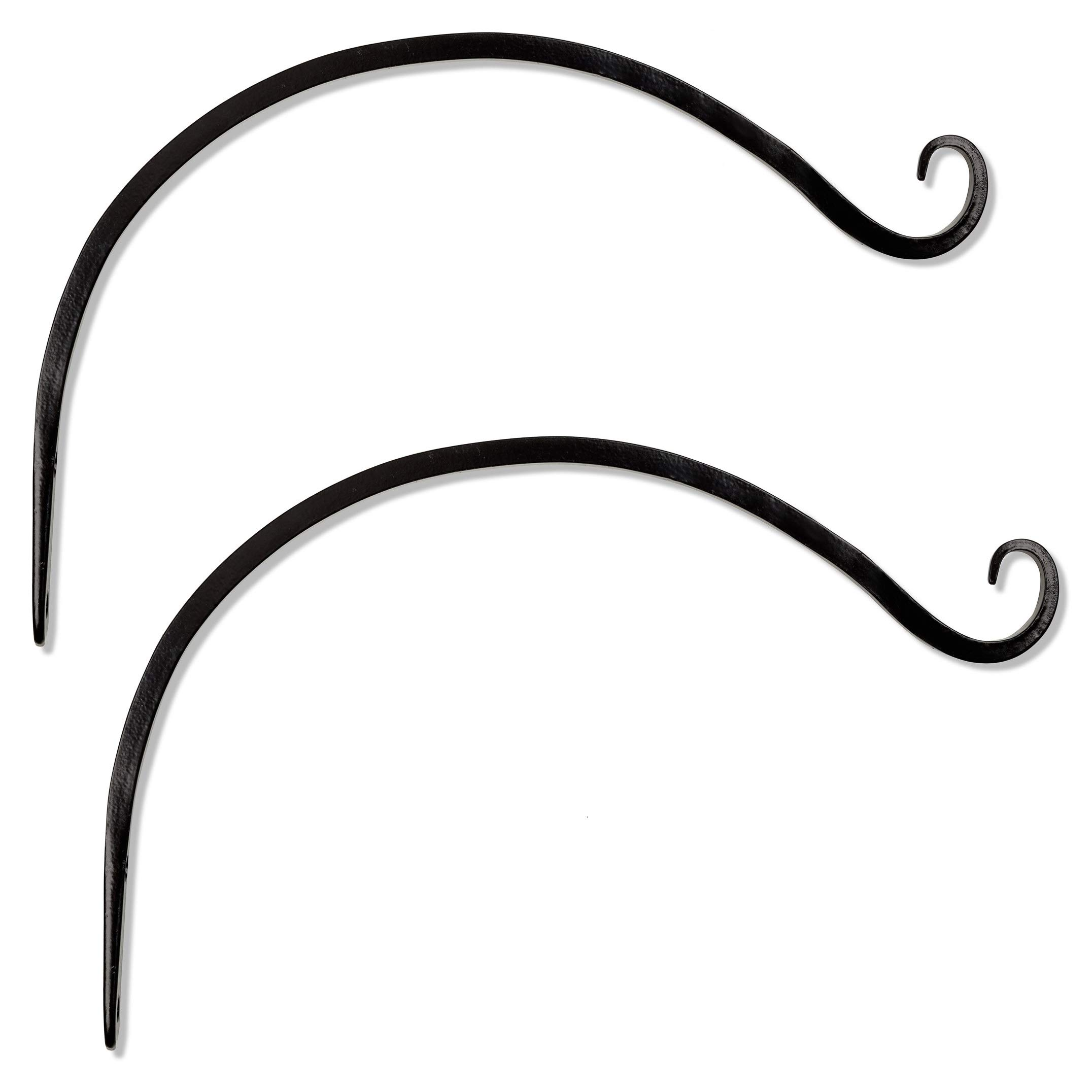 GrayBunny GB-6820B Hand Forged Curved Hook, 14 Inch, Black, 2-Pack, For Bird Feeders, Planters, Lanterns, Wind Chimes, As Wall Brackets and More!
