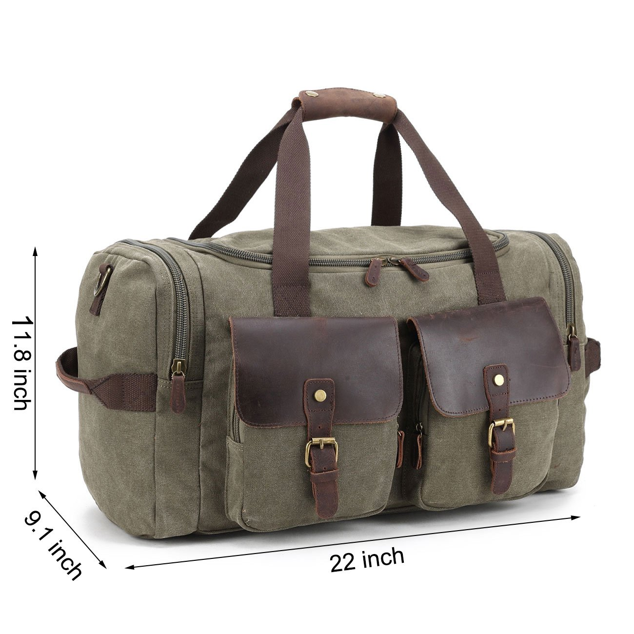 31c91b85a6c Amazon.com | Canvas Duffle Bag overnight bag 22 inch Leather Weekend Bag  Carry On Travel Bag Luggage Oversized Holdalls for Men and Women | Sports  Duffels