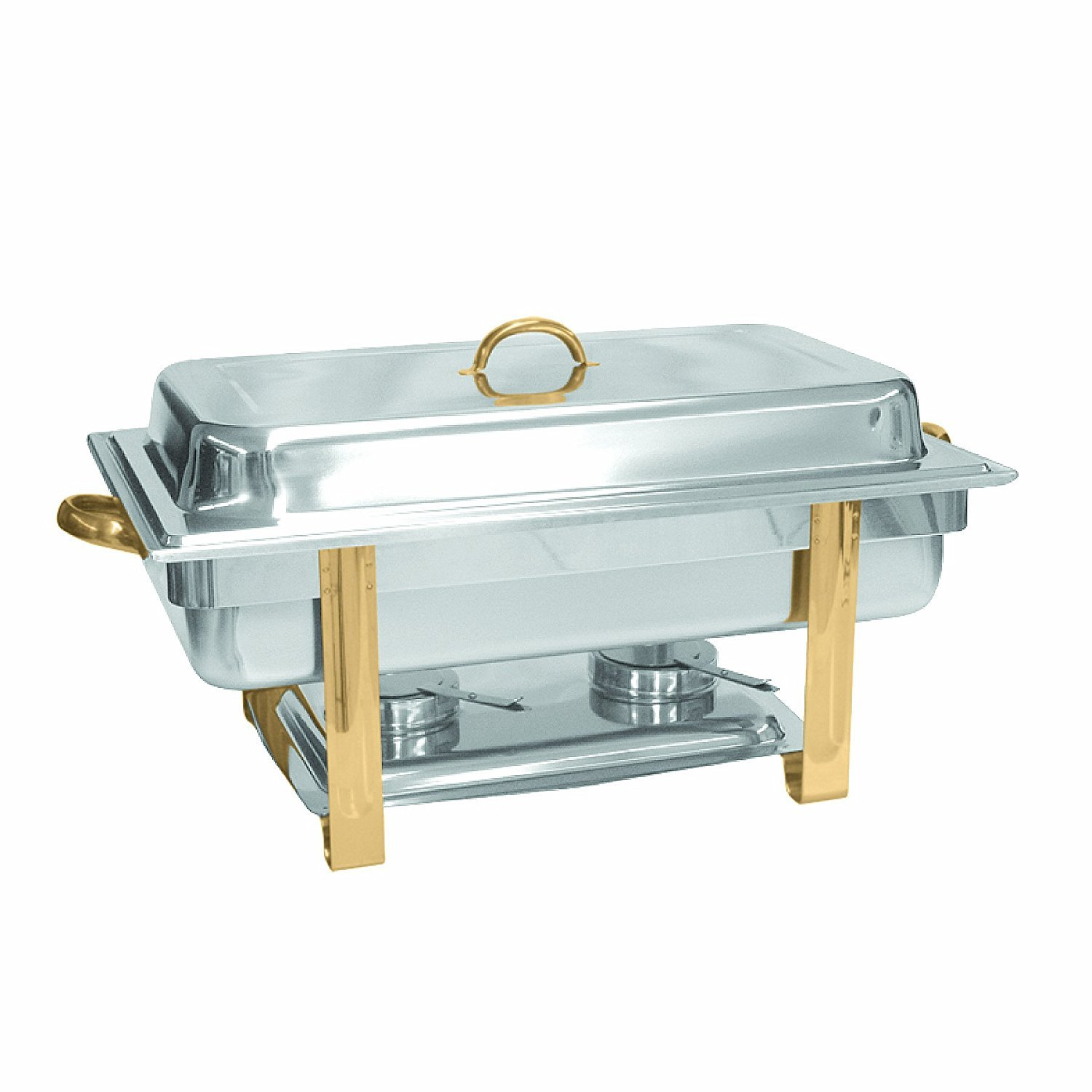 Tiger Chef 8 Quart Full Size Buffet Chafing Dish Set with Gold Accents and Gel Fuel Cans 0026-SLRCF0833GH