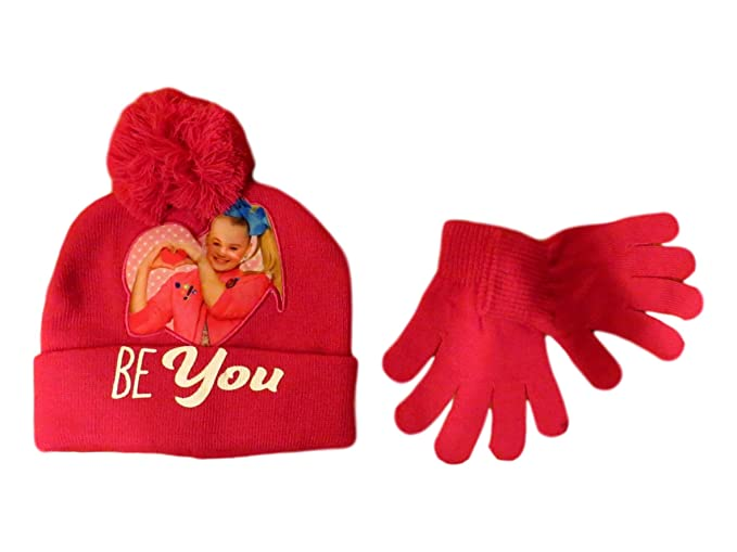 dc55fe2e868 Image Unavailable. Image not available for. Color  JoJo Siwa Pink Be You Beanie  Hat and Gloves Set