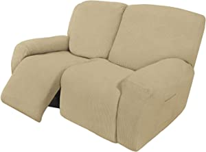 Easy-Going 6 Pieces Recliner Loveseat Stretch Sofa Slipcover Sofa Cover Furniture Protector Couch Soft with Elastic Bottom Kids, Spandex Jacquard Fabric Small Checks Beige