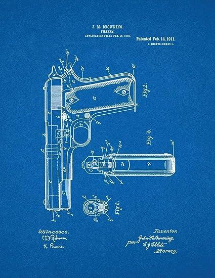 Amazon colt 1911 gun patent print art poster blueprint 13 x colt 1911 gun patent print art poster blueprint 13quot malvernweather Choice Image