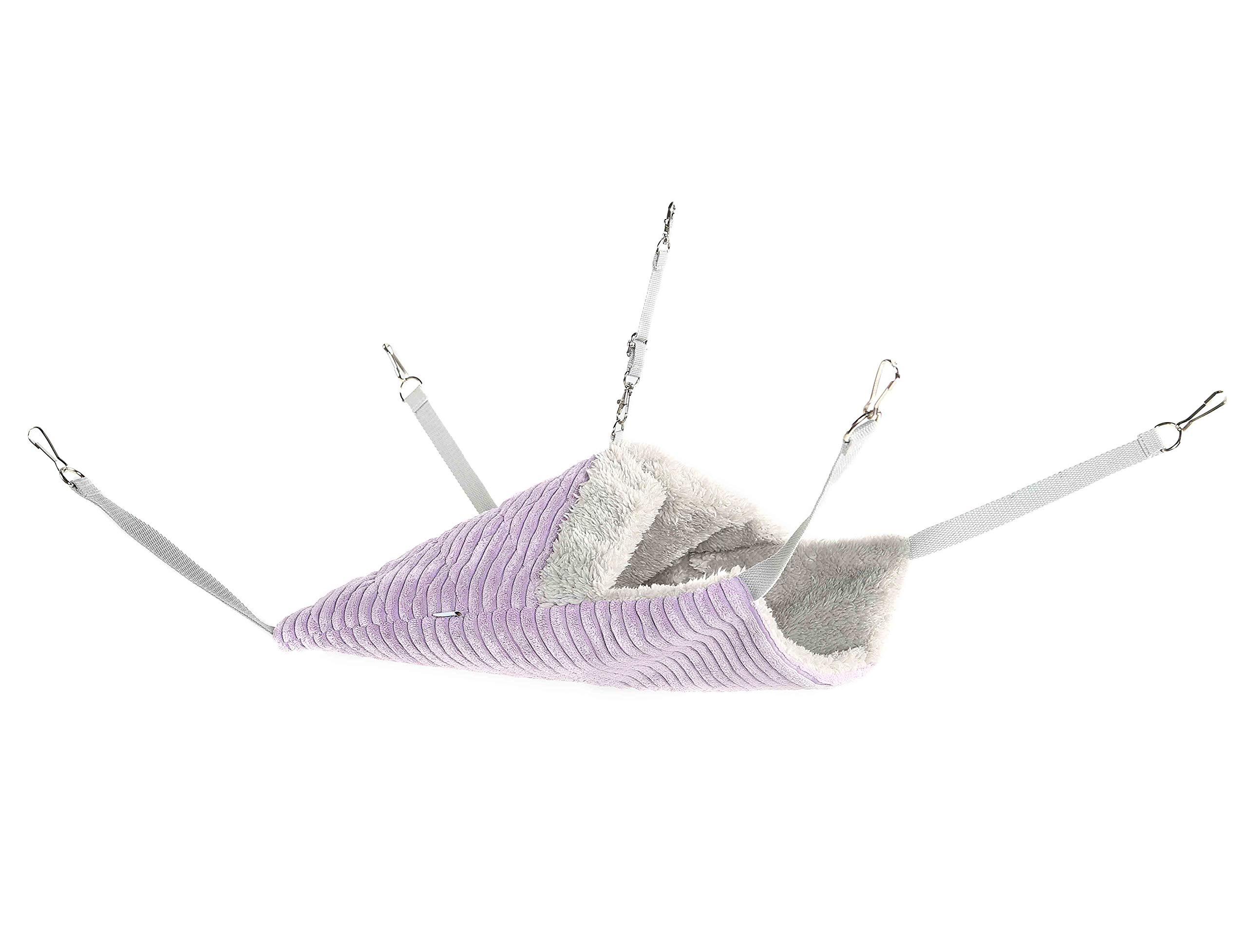 Niteangel Luxury Unilateral Closed Ferret Hammock, Hanging Soft Bed Sleepy Comfortable Pad for Small Animals (Purple)