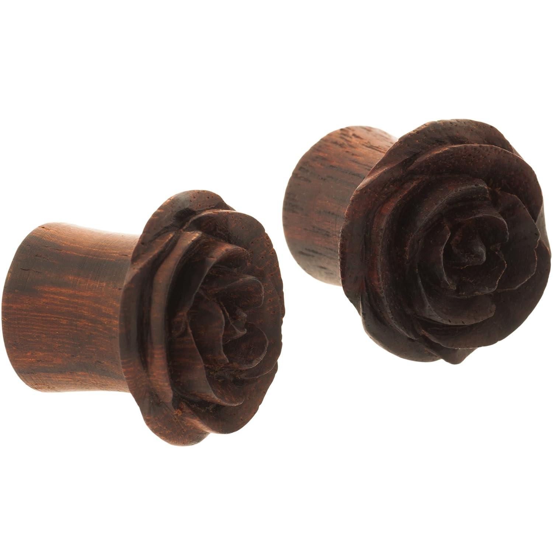 Sono Wood Pair of Dark Chocolate Rosebud Plugs