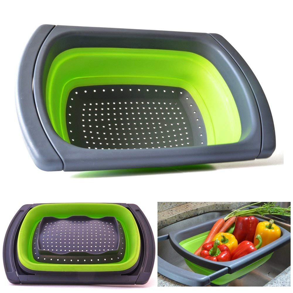 JmeGe Collapsible Colander Over The Sink Vegtable/Fruit Colander Strainer with Extendable Handles Folding Strainer for Kitchen(Green)