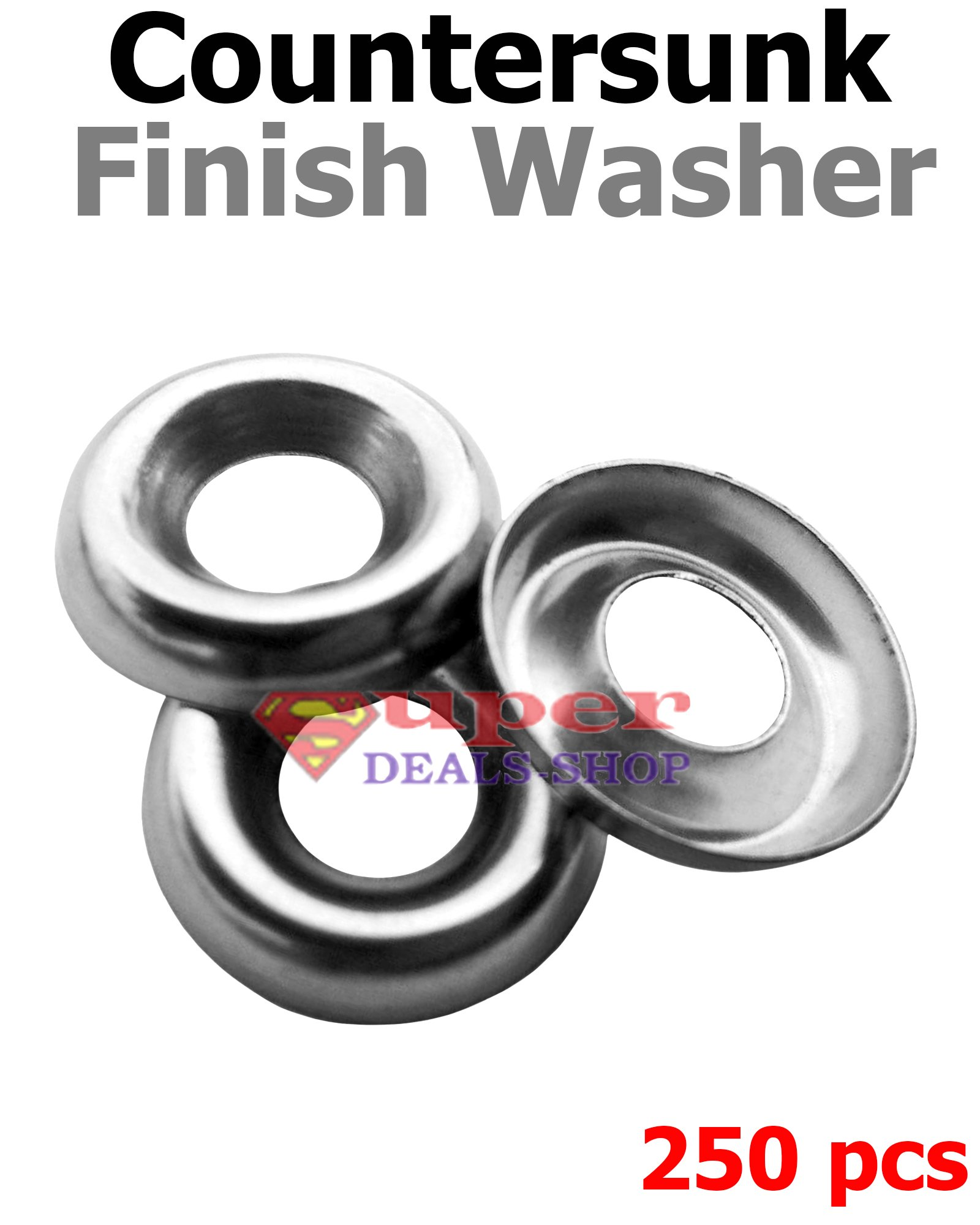 250 pcs Countersunk Finish Washer Stainless Steel Finishing Washers Finishing Cup Washers #8 Super-Deals-Shop
