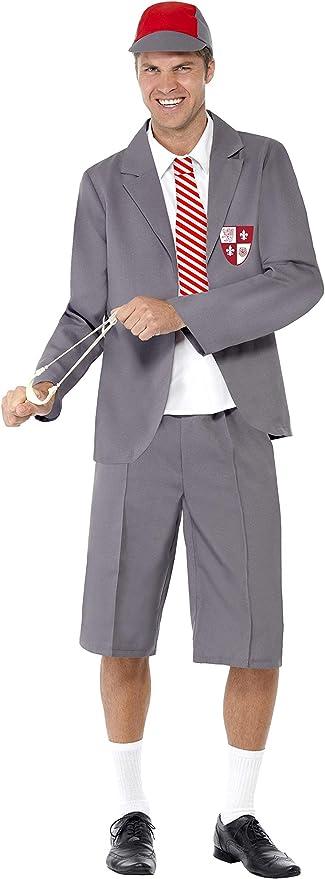 Smiffy'S 31082M Disfraz De Colegial, Blazer, Pechera De Camisa Y Corbata, Shorts Y Gorra, Gris, M - Tamaño 38