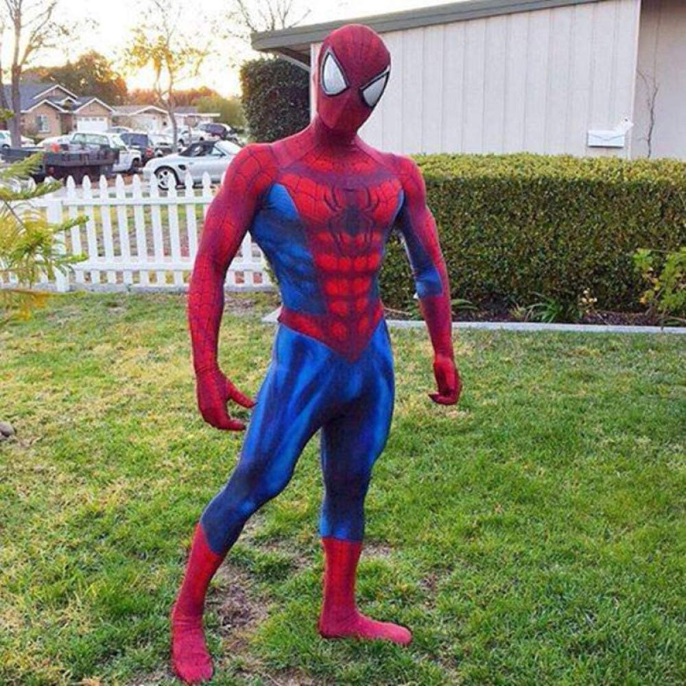 Spiderman Costume Cosplay Adult Siamy Tights Christmas Halloween Masquerade Movie Game Props,Red-L