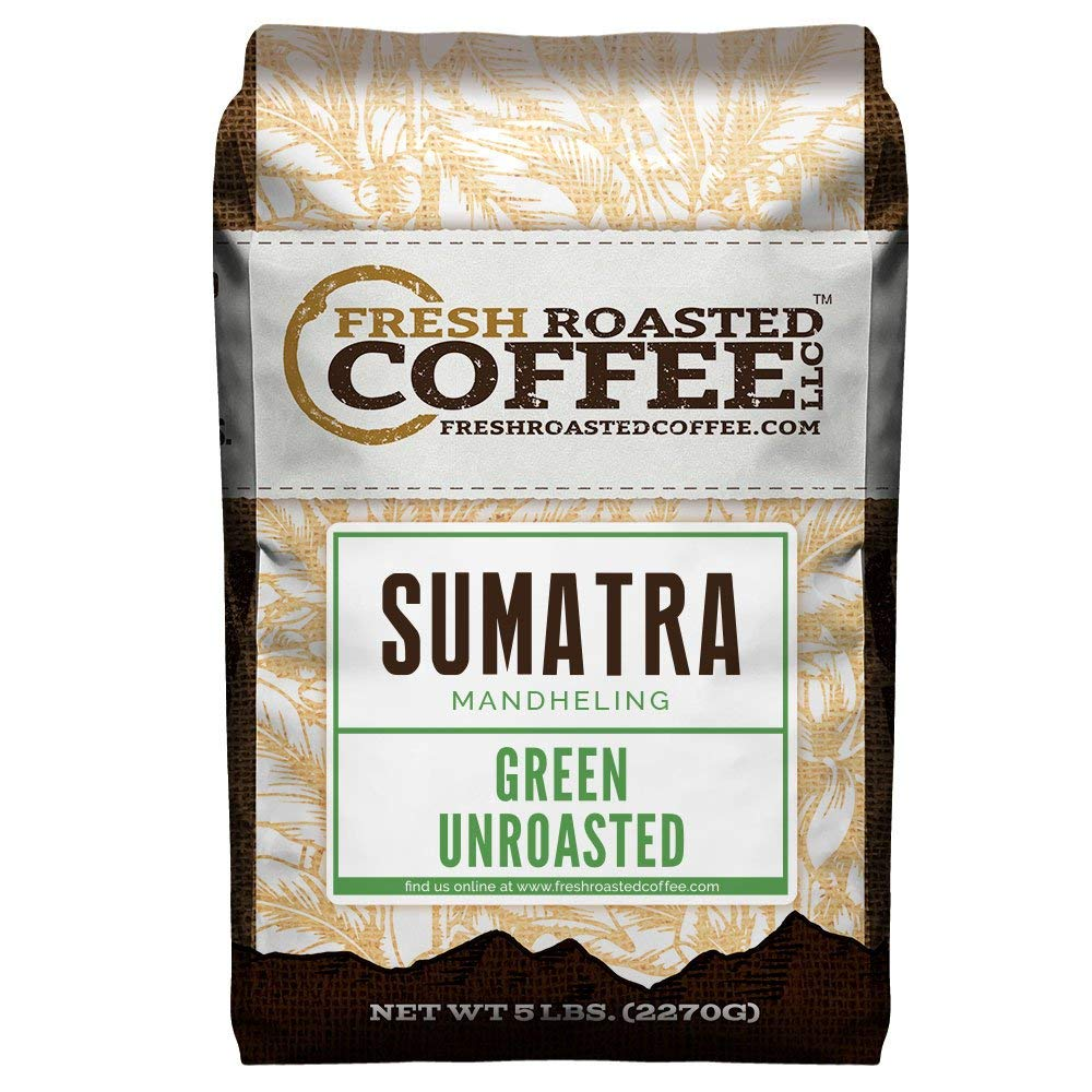 Fresh Roasted Coffee LLC, Green Unroasted Sumatra Mandheling Coffee Beans, 5 Pound Bag by FRESH ROASTED COFFEE LLC FRESHROASTEDCOFFEE.COM