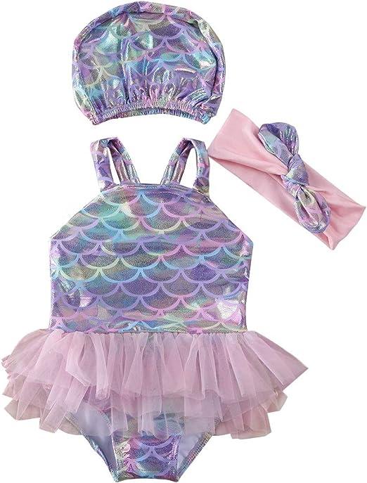Girls Toddler Swimsuit 4 4T Rainbow Mermaid Scales w// Tutu