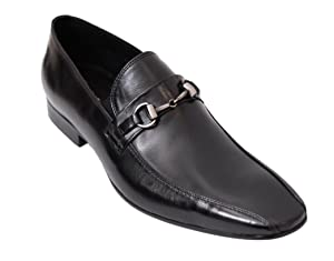 Carrucci Black Slip-on Bit Loafer Bicycle Toe Leather Dress Shoes