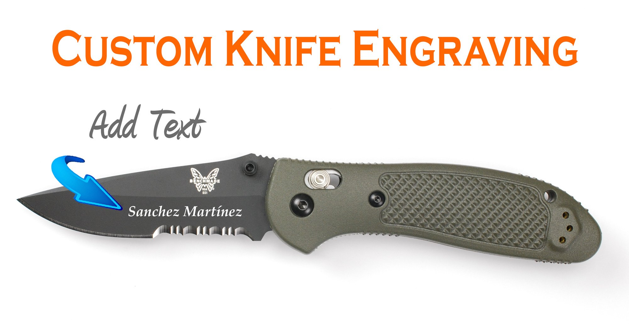 Custom Laser Engraved Benchmade Griptilian Mod Drop Point Combo Edge, Hollow Ground & BK Coating Olive Knife 551SBKOD