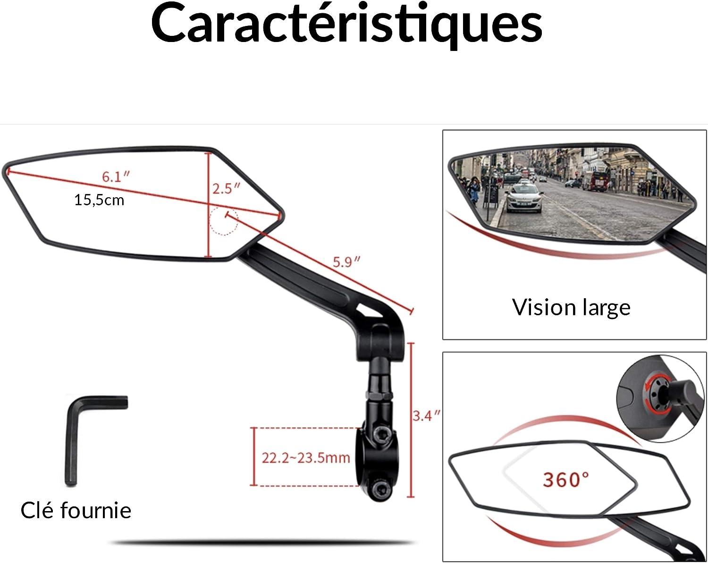 Timgad R/étroviseurs v/élo//Moto Design TX1 Gauche Droite r/églables et rotatifs /à 360/°