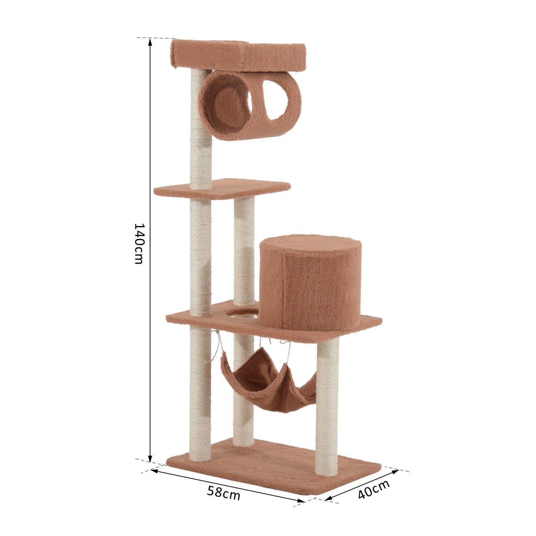 PawHut Árbol para Gatos de caseta Sisal Parque Juegos Juguete 58 × 40 × 140 cm: Amazon.es: Productos para mascotas