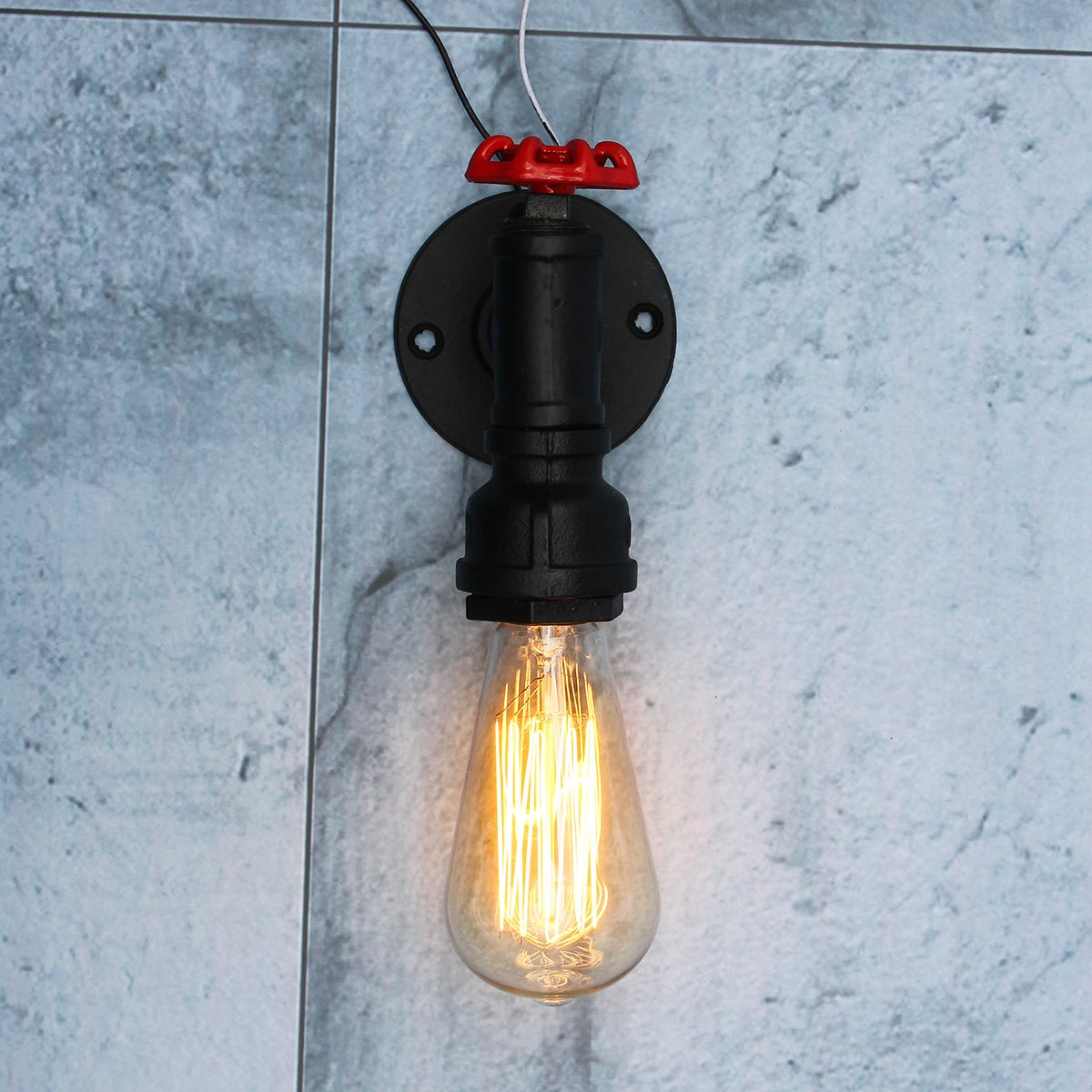 Jeteven Wandlampe E27 Lampefassung Metall Vintage Wandleuchte Retro Industriell loft Stil für Büro Korridor Restaurant Keller Untergeschoss usw, Max. 60W (Schwarz B)