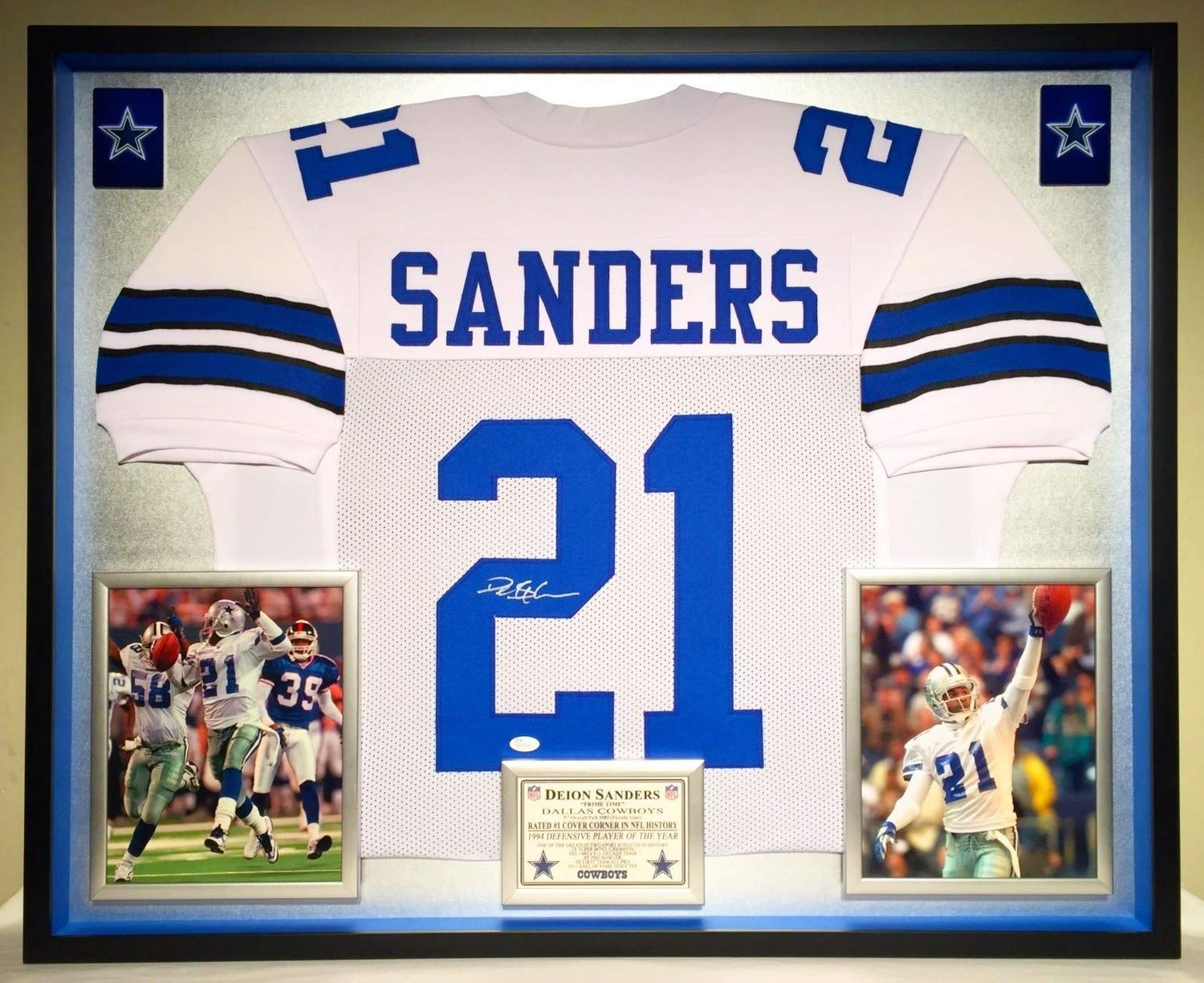 9ce09d8a882 Deluxe Framed Deion Sanders Autographed Signed Dallas Cowboys Jersey  Memorabilia - JSA Authentic at Amazon's Sports Collectibles Store