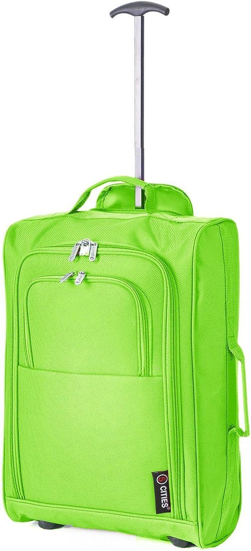 5 Cities IATA. Maleta con llantas, equipaje de mano. 54 cm, 42 litros, verde
