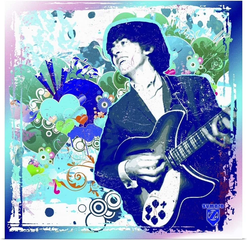 CANVAS George Harrison Playing Guitar Print Art POSTER