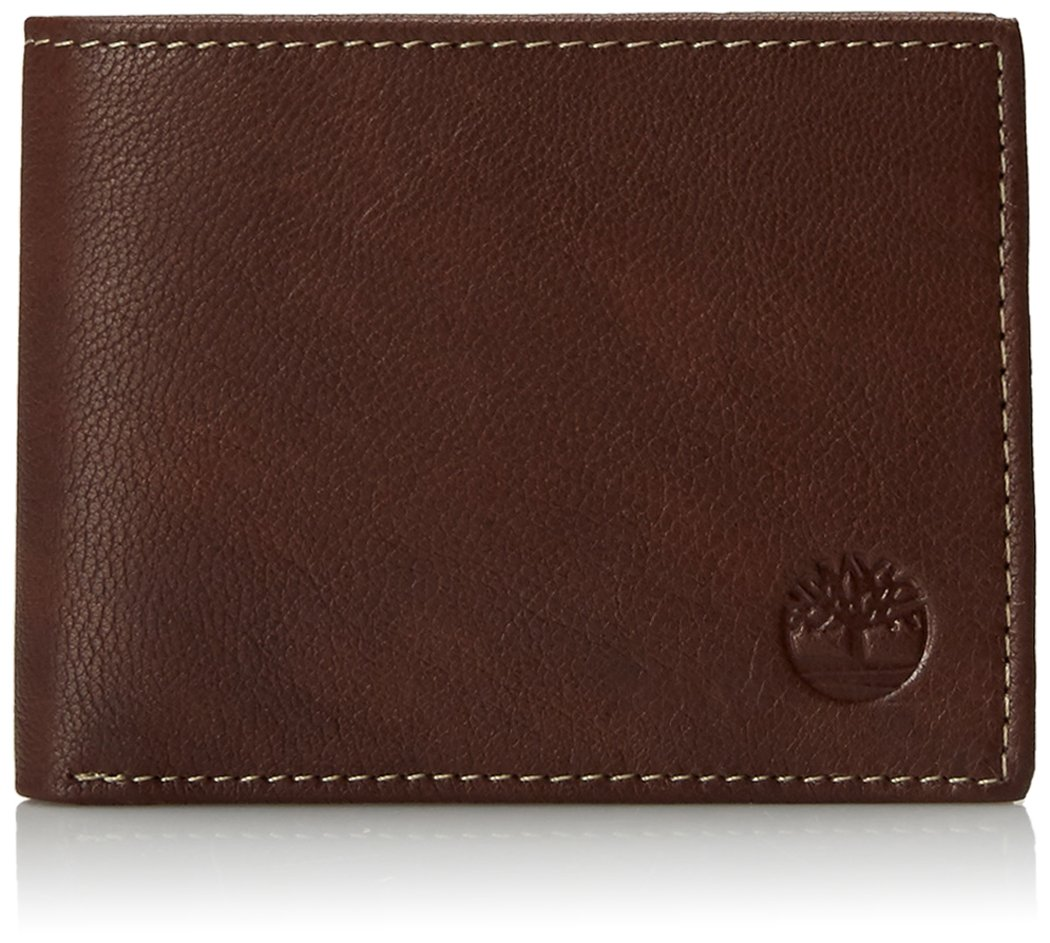 Timberland Men's Blix Slimfold Leather Wallet, Brown, One Size by Timberland