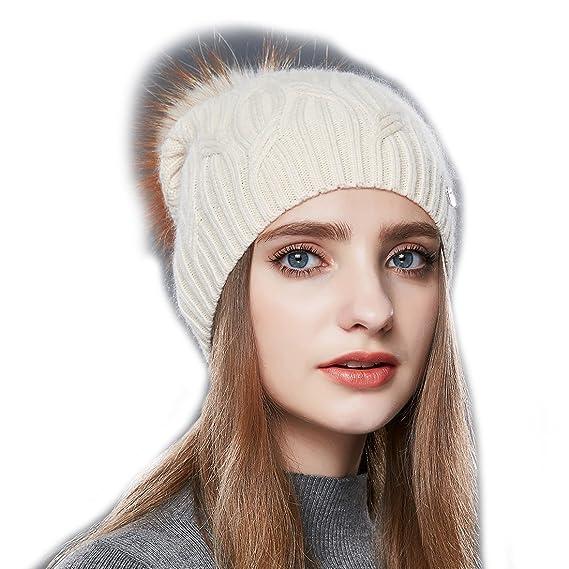 db2ac2791d0 URSFUR Bonnet Jersey Tricot Laine Femme Chapeau Bonnet Béret Tendance  Beanie Pompon Fourrure Hiver Beige