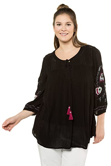 bd2c095a8c0 Ulla Popken Women s Plus Size Embroidered Sleeve Lace Up Blouse Black 12 14  716212 10