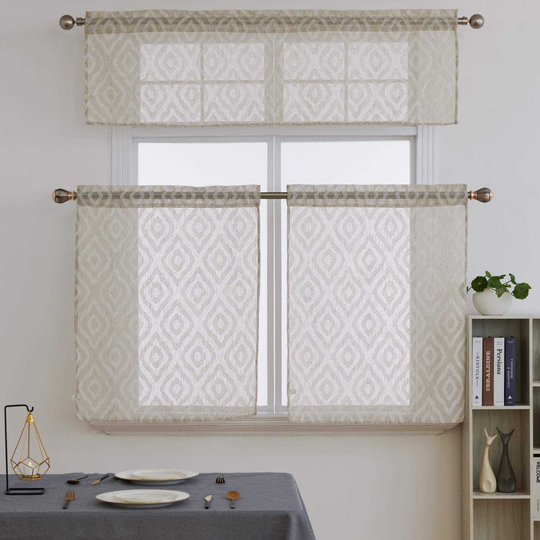 Deconovo Kitchen Curtains Rod Pocket 3 Piece Kitchen Curtain Panels with  Embroidered Pattern 36 Inch Tier Curtains for Kitchen Window