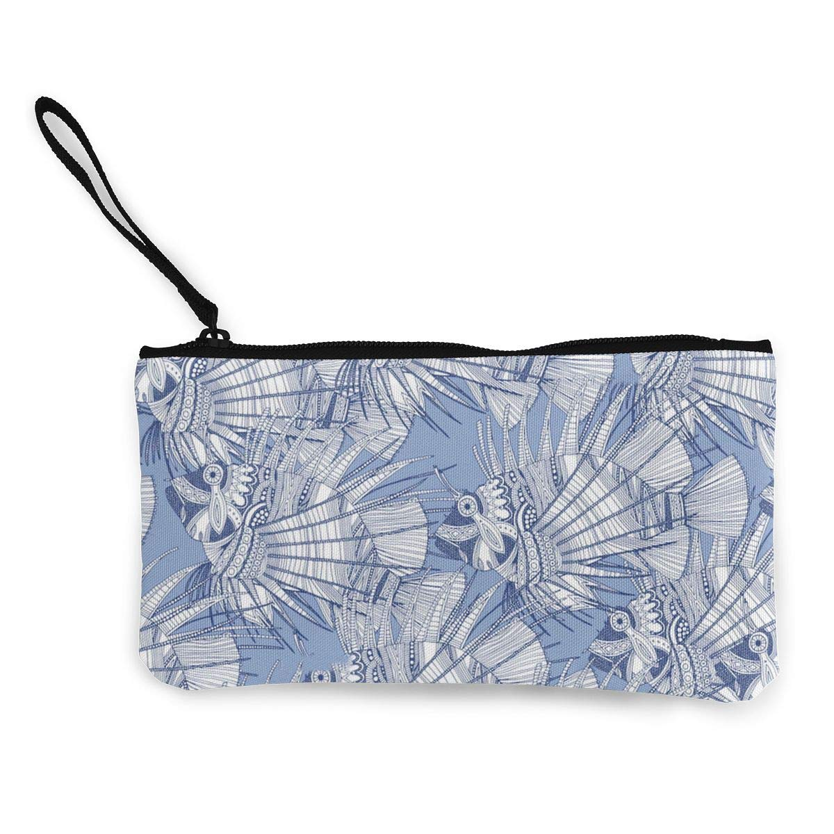 Fish Mirage Blue Pattern Canvas Change Coin Purse Assorted Money Bag With Zip