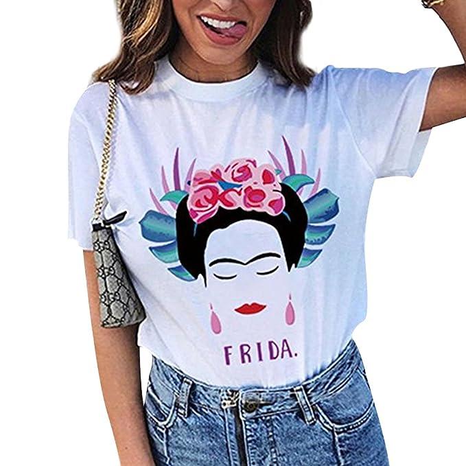 ca5c9f7ca7951 Camiseta de Manga Corta de Verano Artista Frida Kahlo para Mujer  Personalizada (Color   White