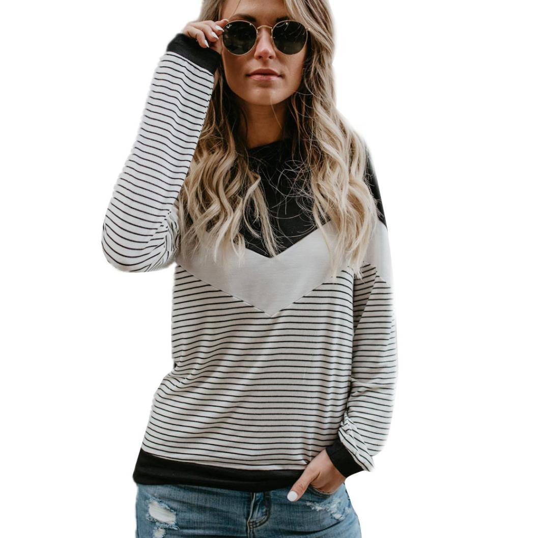 Clearance!Youngh New Womens Blouses Shirts Women Fashion Shirts Black And White Stripe Tops Casual O-Neck Tops Long Sleeve Shirt Beach Blouse: Amazon.com: ...