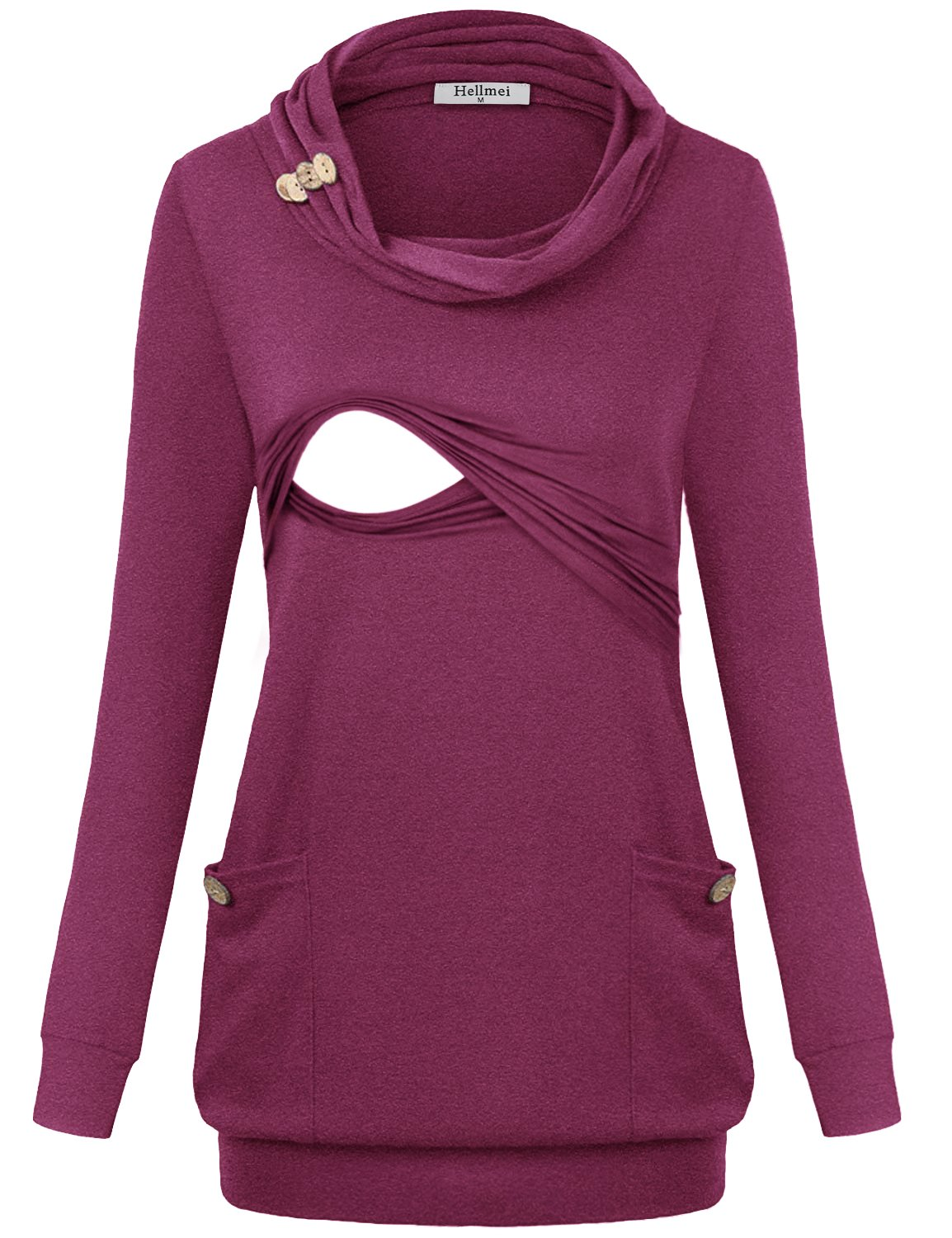 Hellmei Womens Nursing Tops, Ladies Petite Trendy Draped Prime Misses Shirt Long Sleeve Jersey Cotton Trapeze Cowl Neck Tunic A-Line Pleat Stretchy Business Casual Clothing Rose Red M by Hellmei (Image #1)