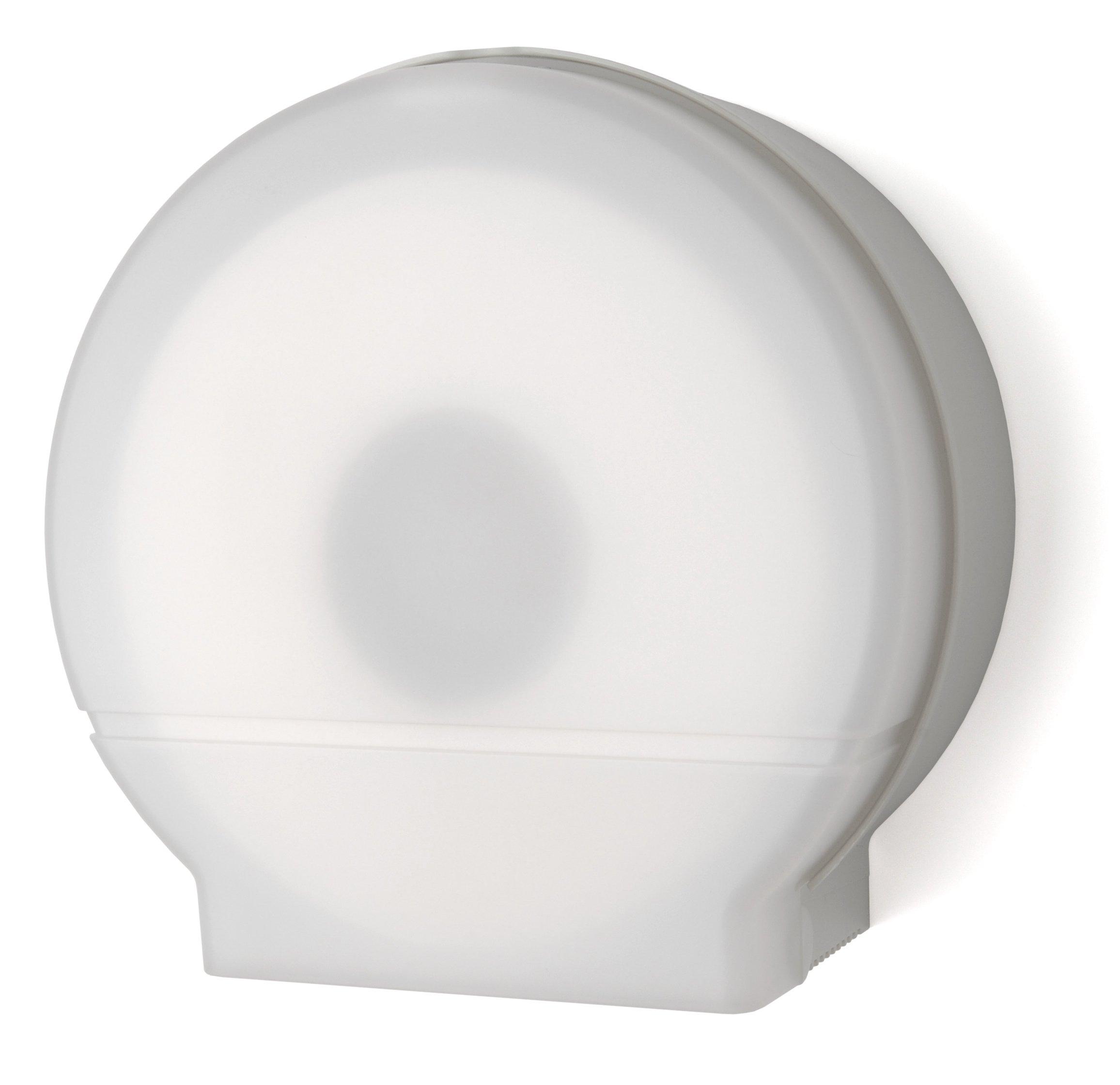Palmer Fixture RD0026-03F Single Roll Jumbo Tissue Dispenser with Core Adaptor, White Translucent