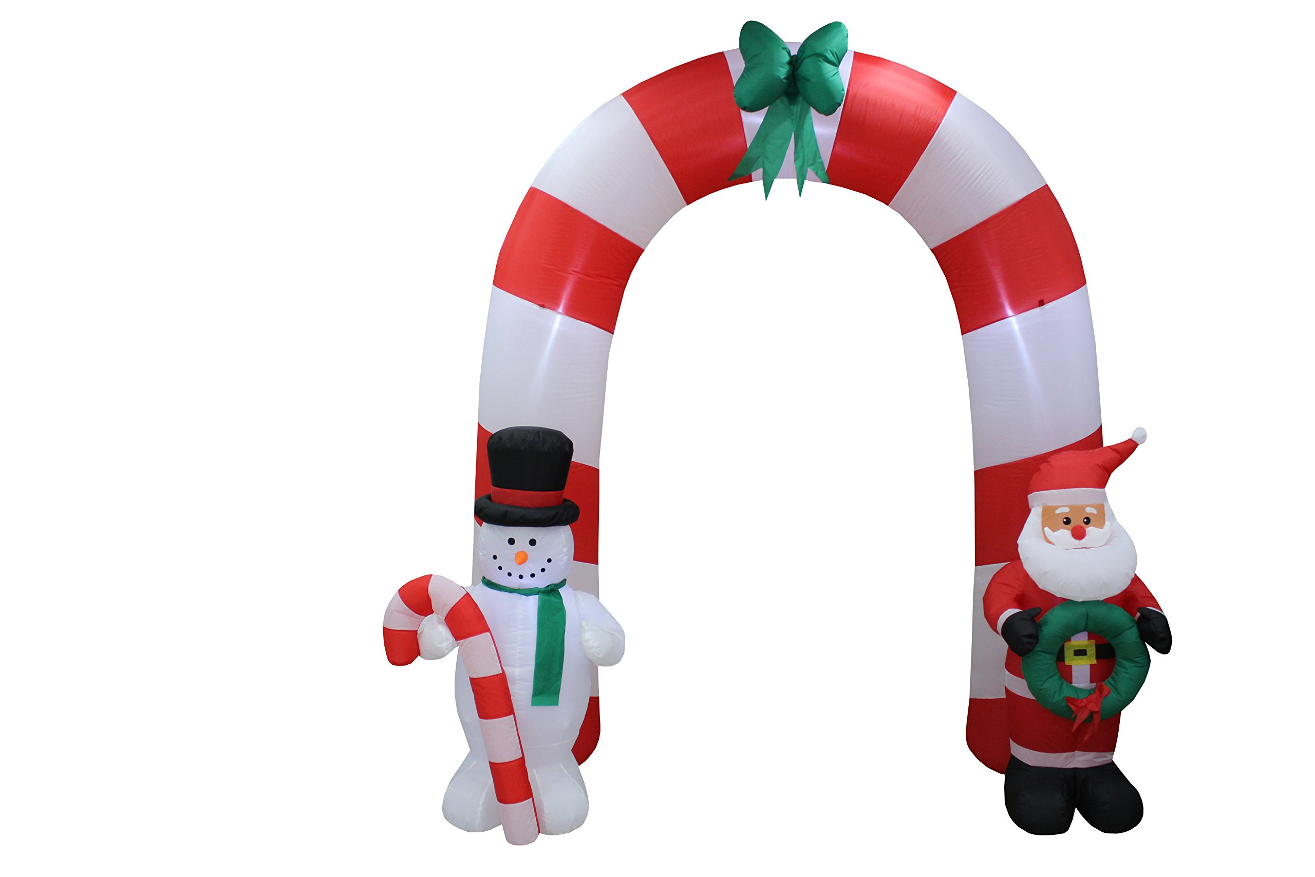 8 Foot Tall Lighted Christmas Inflatable Archway Arch with Santa Claus and Snowman Cute Indoor Outdoor Garden Yard Party Prop Decoration