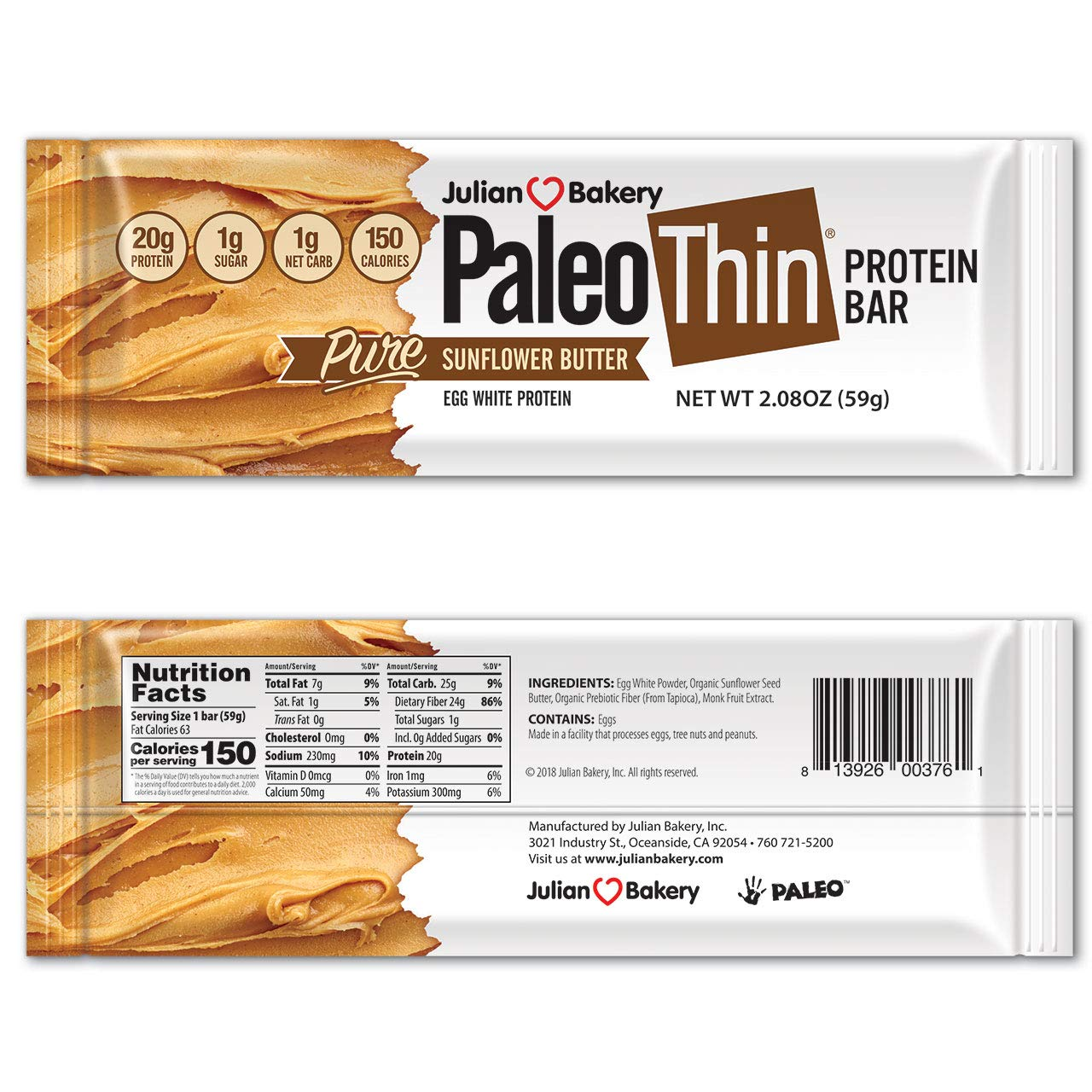 Paleo Thin® Protein Bar (Sunflower Butter) (150 Cal)(20g Protein)(Egg White)(1 Net Carb)(4 Ingredients)(1g Sugar)(10 Bars) by Julian Bakery