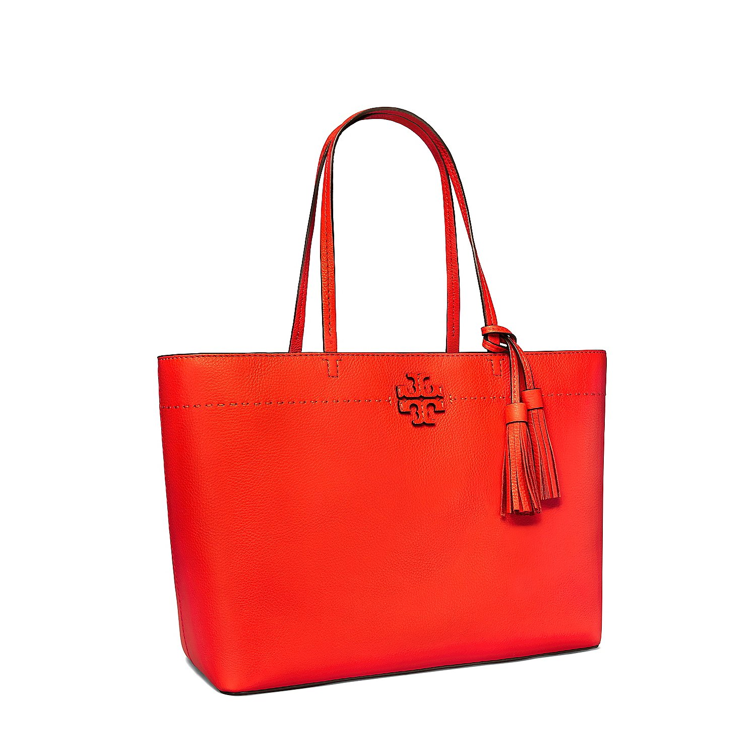 3fcd4460e42b Amazon.com  Tory Burch Pebbled Leather McGraw Tote (Poppy Red)  Clothing